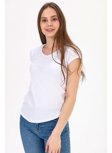 Tiffany&Tomato V Yaka Cepli T-Shirt Beyaz